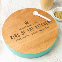 Personalised King Of The Kitchen Coloured Edge Board