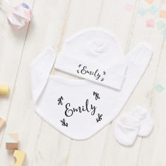 Personalised Floral Baby Hat, Bib And Mitt Gift Set