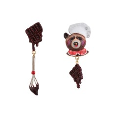 Odile the bear pastry chef earrings