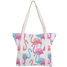 Beach Bag Pink and Blue Flamingos