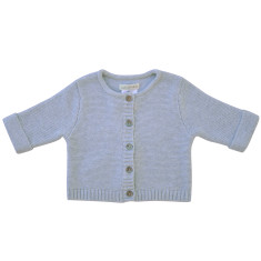 Wave knit cotton baby cardigan in grey marle