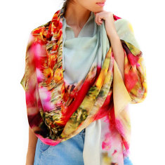 Cashmere Tulips Printed Scarf