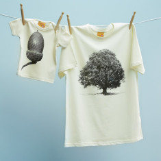 Oak tree & acorn t-shirt twinset for dad and child (natural)