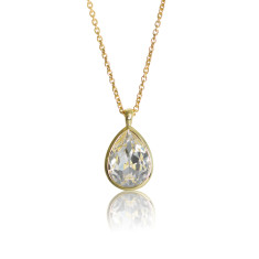 Crystal & Yellow Gold Vermeil Tear Drop Pendant