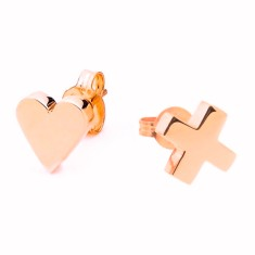 Kiss and heart studs (silver, rose gold or yellow gold)