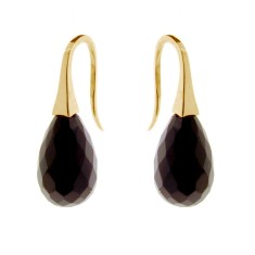 Onyx briolette short drop earrings (in sterling silver, rose or yellow gold)
