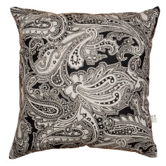 Paisley cushion cover in black on natural