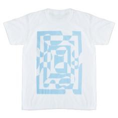 Pale blue cut-out geo print men's t-shirt