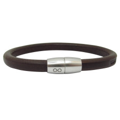Brown leather pan bracelet