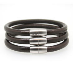 Men's pan leather bracelets in chocolate