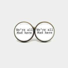 We're all mad here silver or antique cufflinks