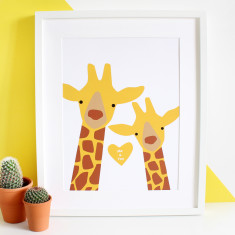 Giraffe Couple Selfie Personalised A3 Print