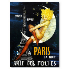 Vintage Paris la nuit ready to hang canvas print