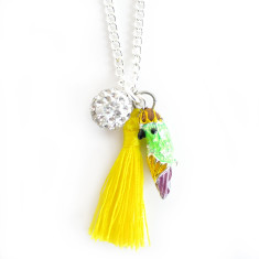 Chain necklace with parrot, diamonte ball and tassel