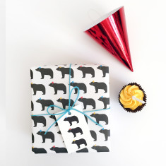 Bear in party hats wrapping paper (set of two wrap and tag)