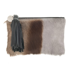 Chloe Grey Bok Leather Clutch