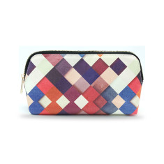 Colourful Checkered Vegan Leather Small Make Up & Cosmetic Bag