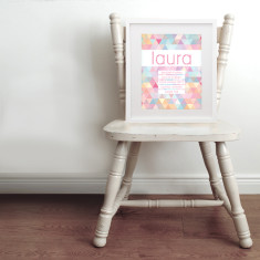 Personalised geometric pastel name & birth art print