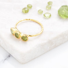 Fine 3 Stone Ring With Peridot