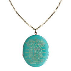 I'll always be with you engraved patina blue vintage locket