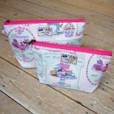 Patisserie cakes baking pink stripe cosmetic bag