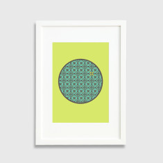 Patterned circle framed art print in chartreuse
