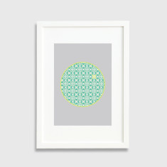 Patterned circles framed art print in grey