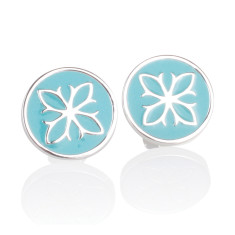 Fleur De Lis Enamel Disc Stud Earrings