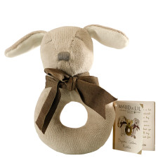 Puppy organic cotton ring rattle