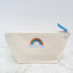 Rainbow Motif Canvas Zip Pouch Make Up Bag