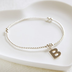 Silver Bead Bracelet With Initial