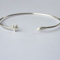Fox wrap bangle in silver