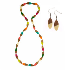 South pacific long frangipani necklace + earrings matching set