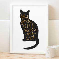 Typography Cat Print