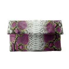 Lilac and lime motif python leather classic foldover clutch