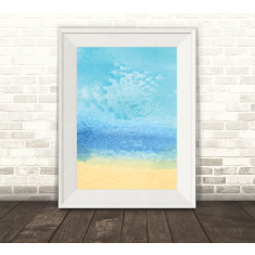 Beach watercolour art print