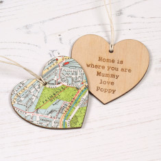 Personalised Map Location Heart Keepsake
