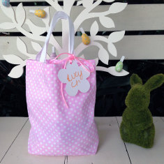 Easter dotty surprise gift bag in pink dot