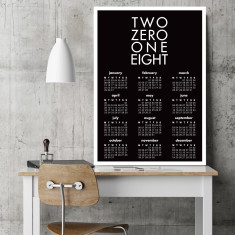 Two zero one eight wall calendar (various sizes & colours)