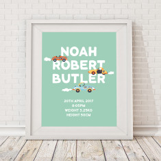Personalised retro car name & birth art print