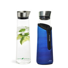 Glass is greener 1000ml carafe with cooler cover in deep print