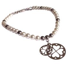 Sterling silver clover charm bracelet