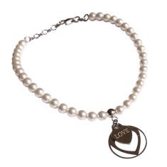 Sterling silver love heart charm bracelet