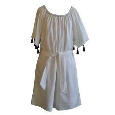 Peasant dress in cream with black