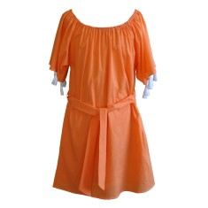 Girls' peasant dress in nectarine with white tassels