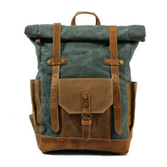 Canvas Waterproof Backpack/Laptop Bag In Green