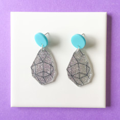 Girlfriend drop earrings - silver glitter, black and aqua