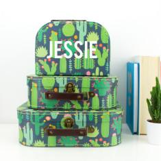 Personalised Cactus Suitcase Storage Box Trio