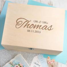Personalised 'Mr And Mrs' Script Wedding Keepsake Box