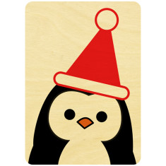 Mr Penguin wooden Christmas postcard